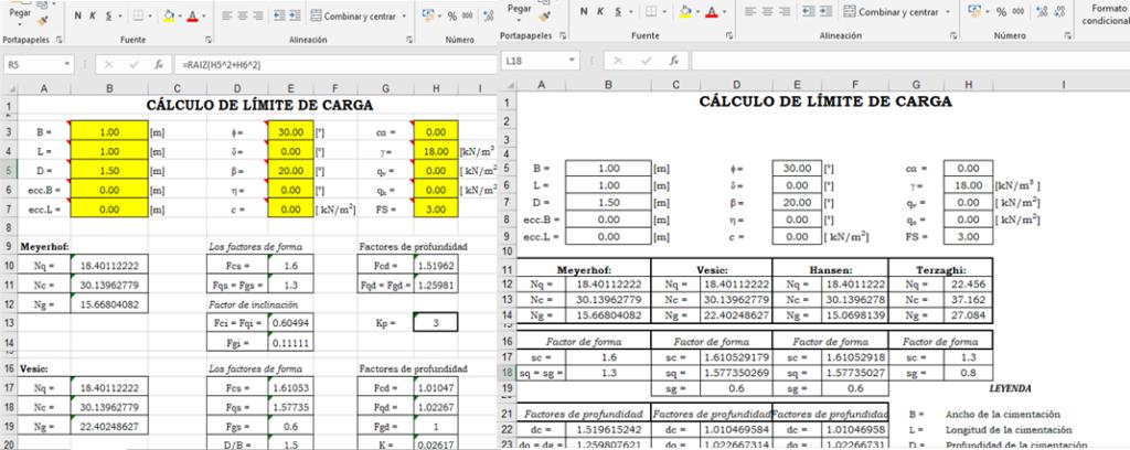 plantilla excel para calculo de capacidad portante